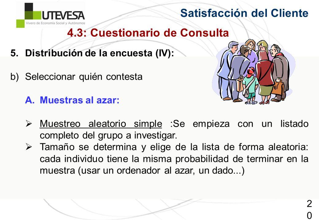 206206206 Satisfacción del Cliente 5.Distribución de la encuesta (IV): b)Seleccionar quién contesta A.Muestras al azar: Muestreo aleatorio simple :Se empieza con un listado completo del grupo a investigar.