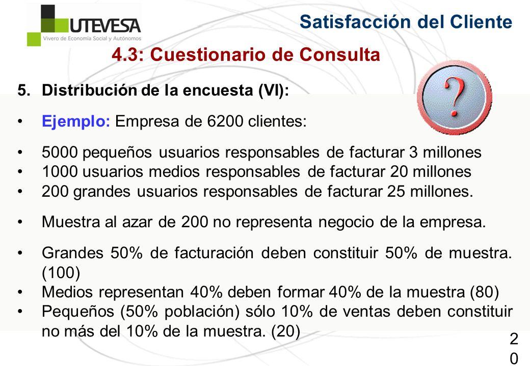 208208208 5.Distribución de la encuesta (VI): Ejemplo: Empresa de 6200 clientes: 5000 pequeños usuarios responsables de facturar 3 millones 1000 usuar