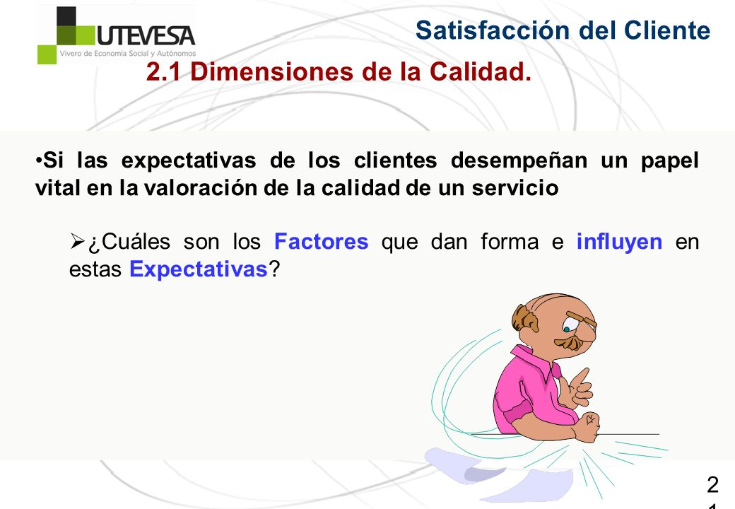 21 Satisfacción del Cliente Si las expectativas de los clientes desempeñan un papel vital en la valoración de la calidad de un servicio ¿Cuáles son los Factores que dan forma e influyen en estas Expectativas.