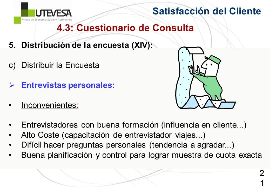 216216216 5.Distribución de la encuesta (XIV): c)Distribuir la Encuesta Entrevistas personales: Inconvenientes: Entrevistadores con buena formación (i