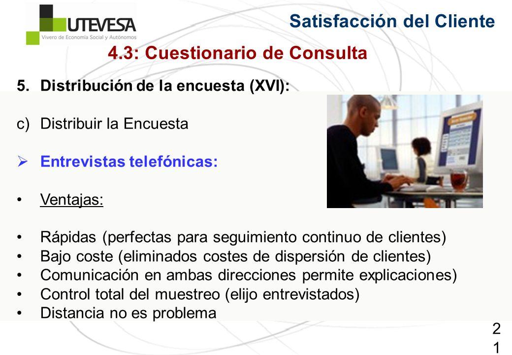 218218218 Satisfacción del Cliente 5.Distribución de la encuesta (XVI): c)Distribuir la Encuesta Entrevistas telefónicas: Ventajas: Rápidas (perfectas para seguimiento continuo de clientes) Bajo coste (eliminados costes de dispersión de clientes) Comunicación en ambas direcciones permite explicaciones) Control total del muestreo (elijo entrevistados) Distancia no es problema 4.3: Cuestionario de Consulta
