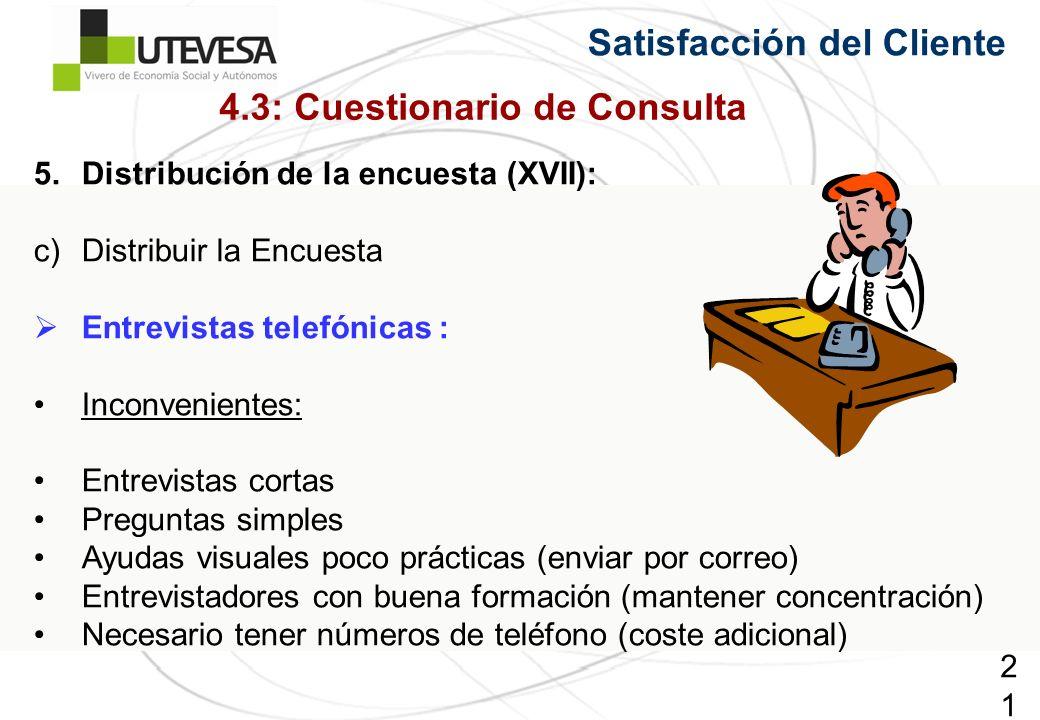 219219219 Satisfacción del Cliente 5.Distribución de la encuesta (XVII): c)Distribuir la Encuesta Entrevistas telefónicas : Inconvenientes: Entrevistas cortas Preguntas simples Ayudas visuales poco prácticas (enviar por correo) Entrevistadores con buena formación (mantener concentración) Necesario tener números de teléfono (coste adicional) 4.3: Cuestionario de Consulta