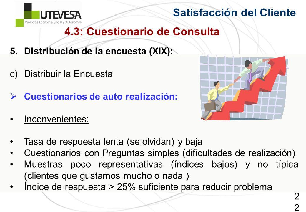 221221221 Satisfacción del Cliente 5.Distribución de la encuesta (XIX): c)Distribuir la Encuesta Cuestionarios de auto realización: Inconvenientes: Tasa de respuesta lenta (se olvidan) y baja Cuestionarios con Preguntas simples (dificultades de realización) Muestras poco representativas (índices bajos) y no típica (clientes que gustamos mucho o nada ) Índice de respuesta > 25% suficiente para reducir problema 4.3: Cuestionario de Consulta