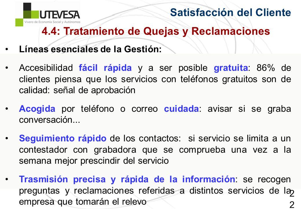 229229229 Satisfacción del Cliente Líneas esenciales de la Gestión: Accesibilidad fácil rápida y a ser posible gratuita: 86% de clientes piensa que lo