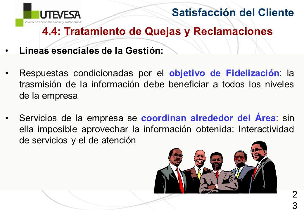 230230230 Satisfacción del Cliente Líneas esenciales de la Gestión: Respuestas condicionadas por el objetivo de Fidelización: la trasmisión de la info