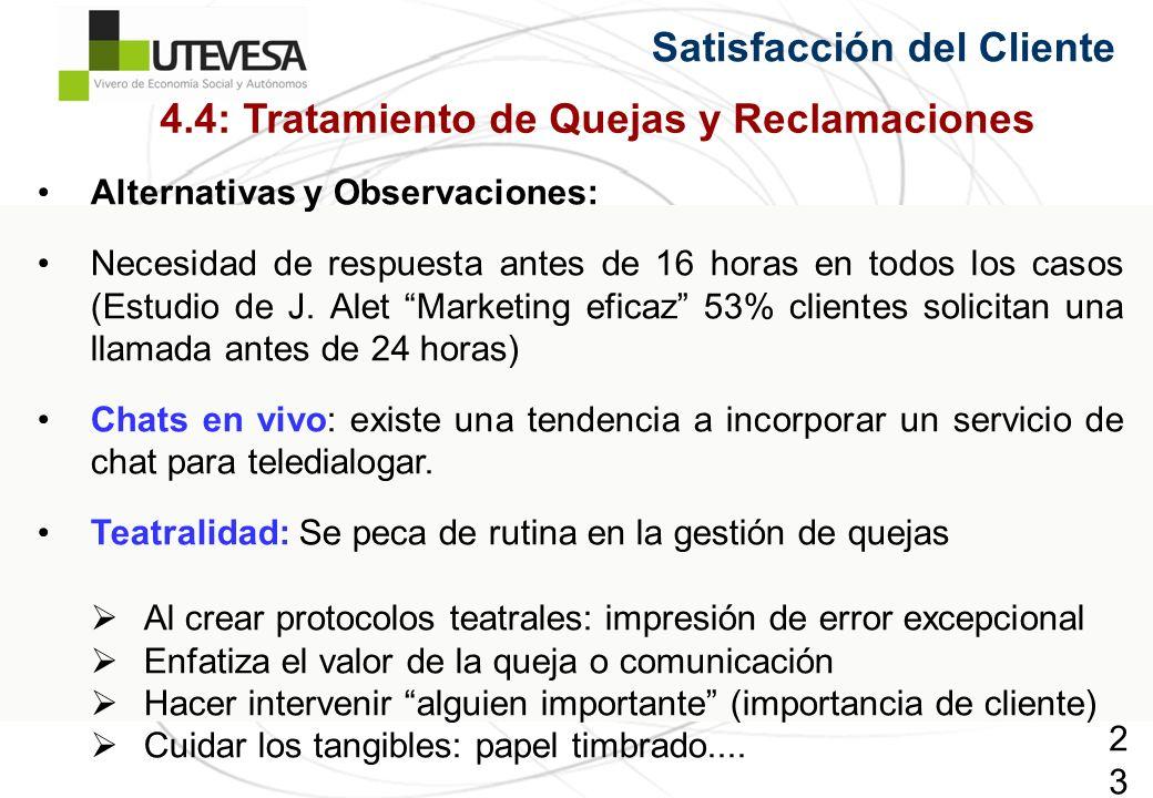 237237237 Alternativas y Observaciones: Necesidad de respuesta antes de 16 horas en todos los casos (Estudio de J.