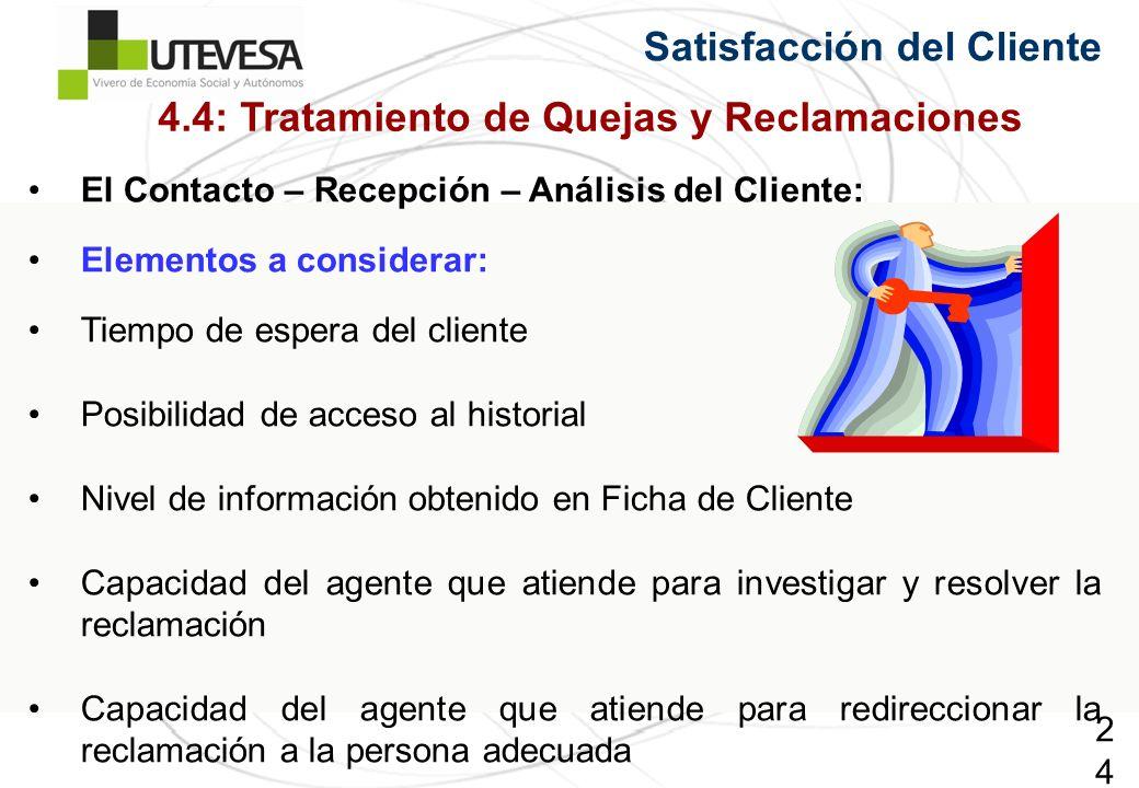 244244244 El Contacto – Recepción – Análisis del Cliente: Elementos a considerar: Tiempo de espera del cliente Posibilidad de acceso al historial Nive