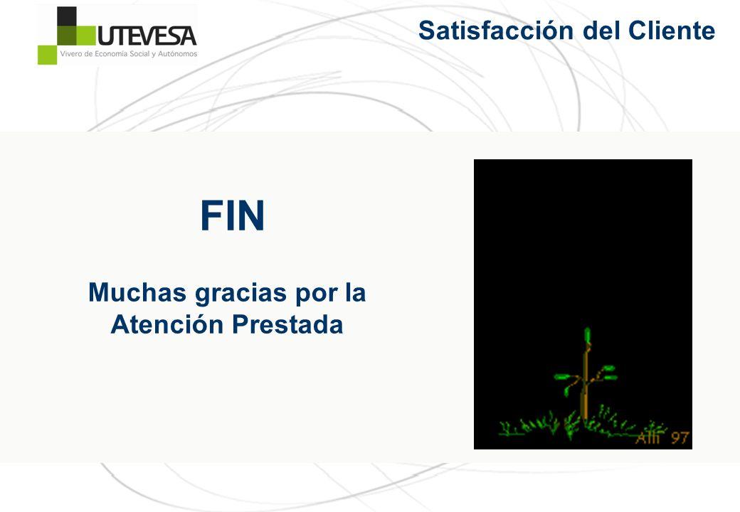 Satisfacción del Cliente Muchas gracias por la Atención Prestada FIN