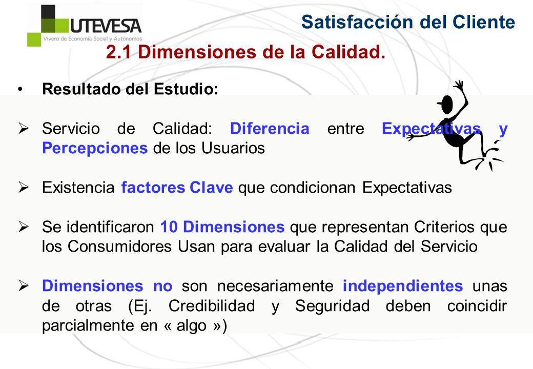 Satisfacción del Cliente Resultado del Estudio: Servicio de Calidad: Diferencia entre Expectativas y Percepciones de los Usuarios Existencia factores