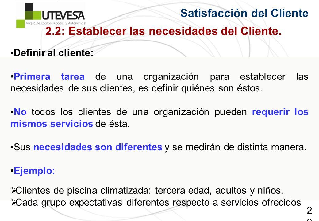 29 Satisfacción del Cliente 2.2: Establecer las necesidades del Cliente. Definir al cliente: Primera tarea de una organización para establecer las nec