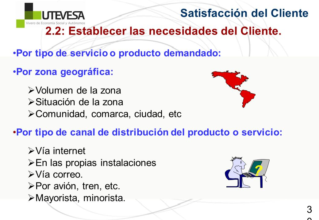 30 Satisfacción del Cliente Por tipo de servicio o producto demandado: Por zona geográfica: Volumen de la zona Situación de la zona Comunidad, comarca