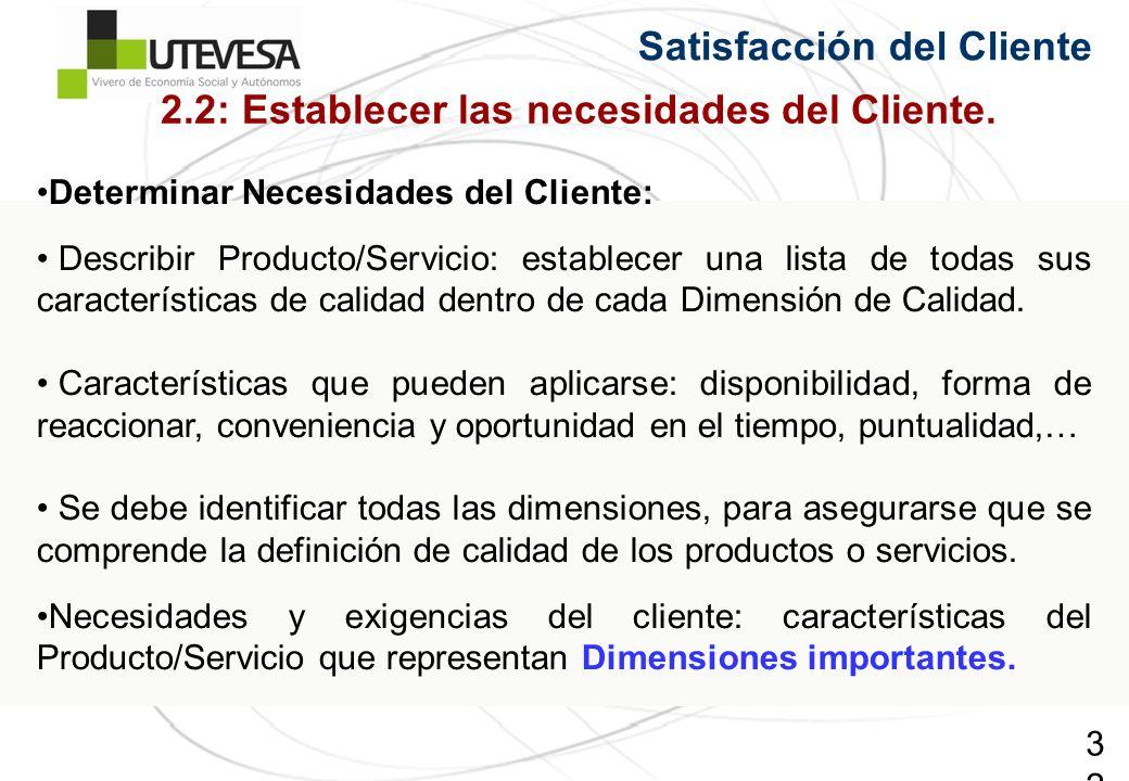 32 Satisfacción del Cliente Determinar Necesidades del Cliente: Describir Producto/Servicio: establecer una lista de todas sus características de calidad dentro de cada Dimensión de Calidad.