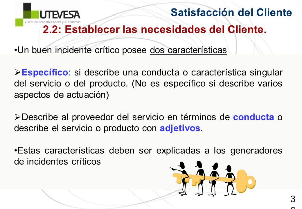 36 Satisfacción del Cliente Un buen incidente crítico posee dos características Específico: si describe una conducta o característica singular del servicio o del producto.