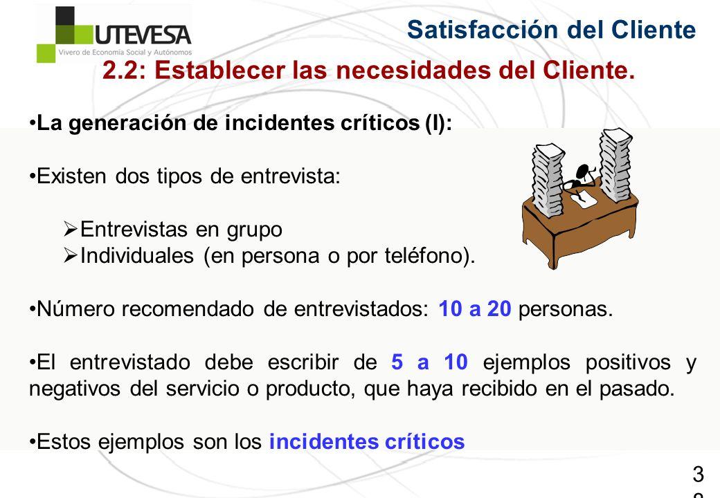 38 Satisfacción del Cliente La generación de incidentes críticos (I): Existen dos tipos de entrevista: Entrevistas en grupo Individuales (en persona o por teléfono).