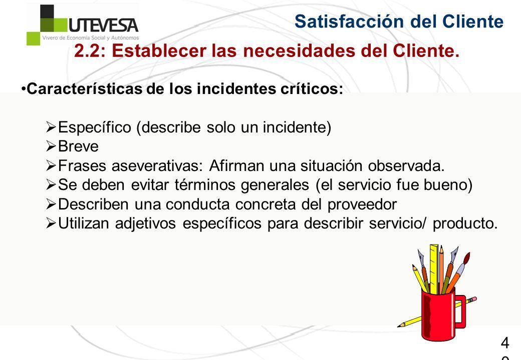 40 Satisfacción del Cliente Características de los incidentes críticos: Específico (describe solo un incidente) Breve Frases aseverativas: Afirman una situación observada.