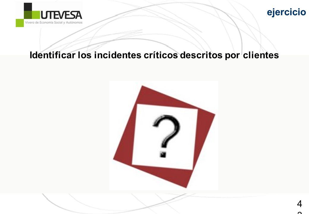 43 ejercicio Identificar los incidentes críticos descritos por clientes