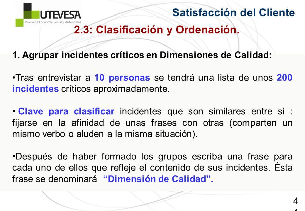 44 Satisfacción del Cliente 2.3: Clasificación y Ordenación. 1. Agrupar incidentes críticos en Dimensiones de Calidad: Tras entrevistar a 10 personas