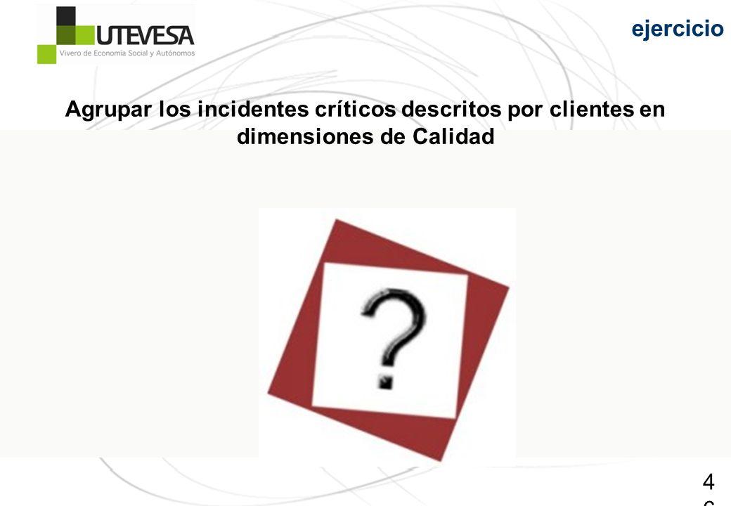 46 ejercicio Agrupar los incidentes críticos descritos por clientes en dimensiones de Calidad