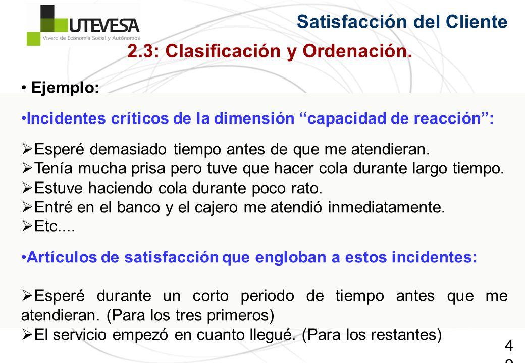 49 Satisfacción del Cliente Ejemplo: Incidentes críticos de la dimensión capacidad de reacción: Esperé demasiado tiempo antes de que me atendieran.