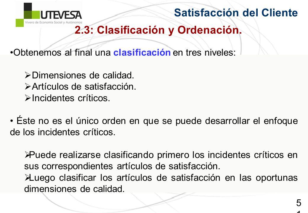 51 Satisfacción del Cliente Obtenemos al final una clasificación en tres niveles: Dimensiones de calidad. Artículos de satisfacción. Incidentes crític
