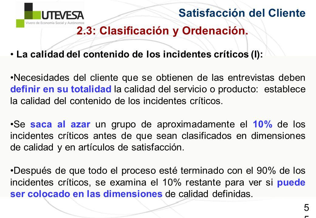 55 Satisfacción del Cliente La calidad del contenido de los incidentes críticos (I): Necesidades del cliente que se obtienen de las entrevistas deben definir en su totalidad la calidad del servicio o producto: establece la calidad del contenido de los incidentes críticos.