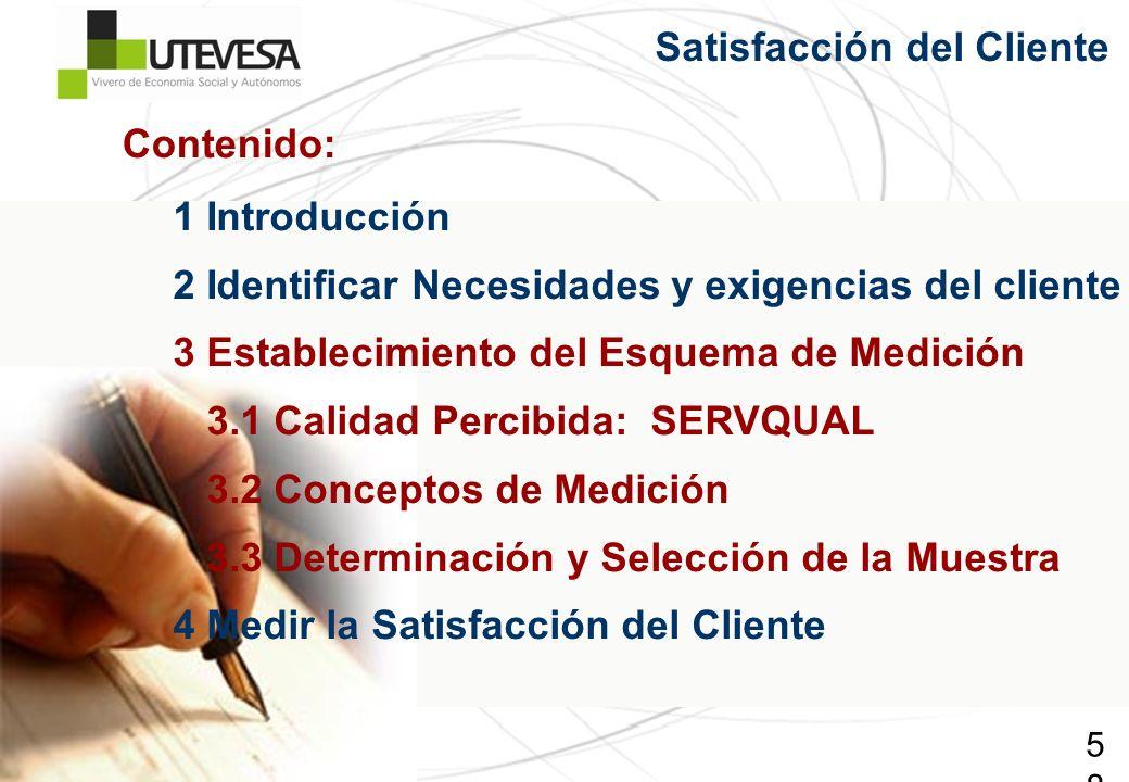 58 Satisfacción del Cliente 1 Introducción 2 Identificar Necesidades y exigencias del cliente 3 Establecimiento del Esquema de Medición 3.1 Calidad Pe