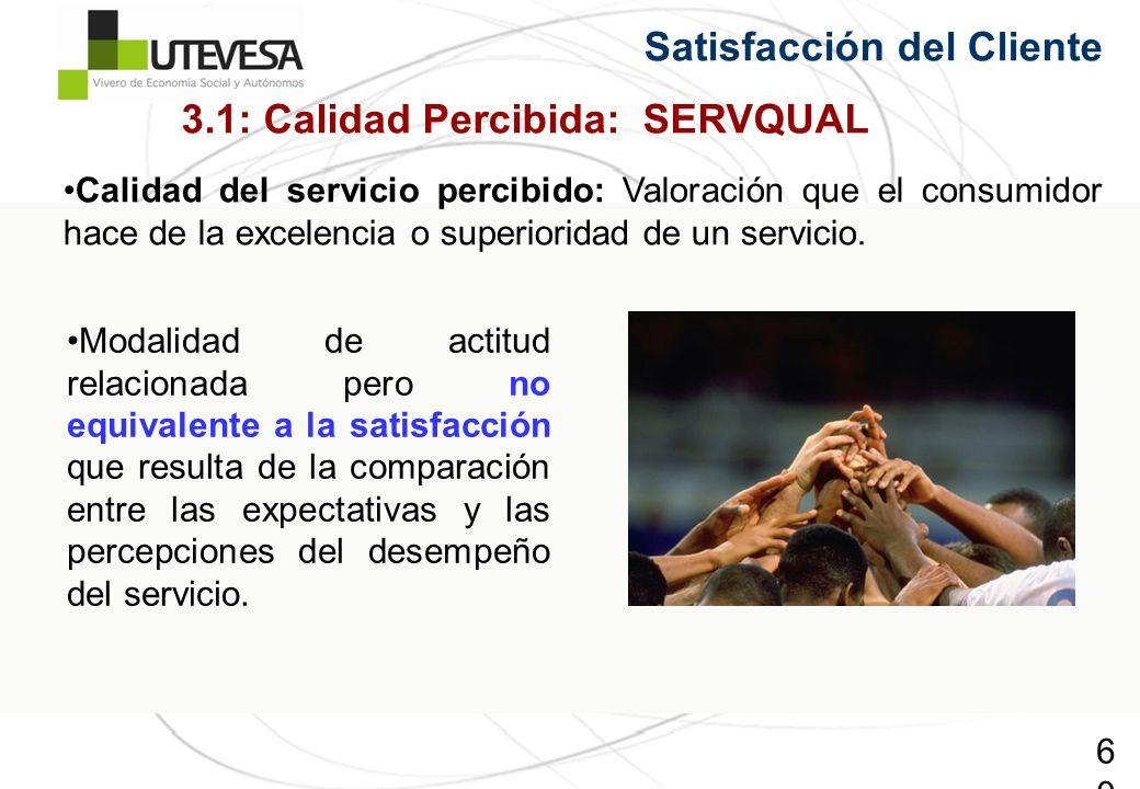 60 Calidad del servicio percibido: Valoración que el consumidor hace de la excelencia o superioridad de un servicio. 3.1: Calidad Percibida: SERVQUAL