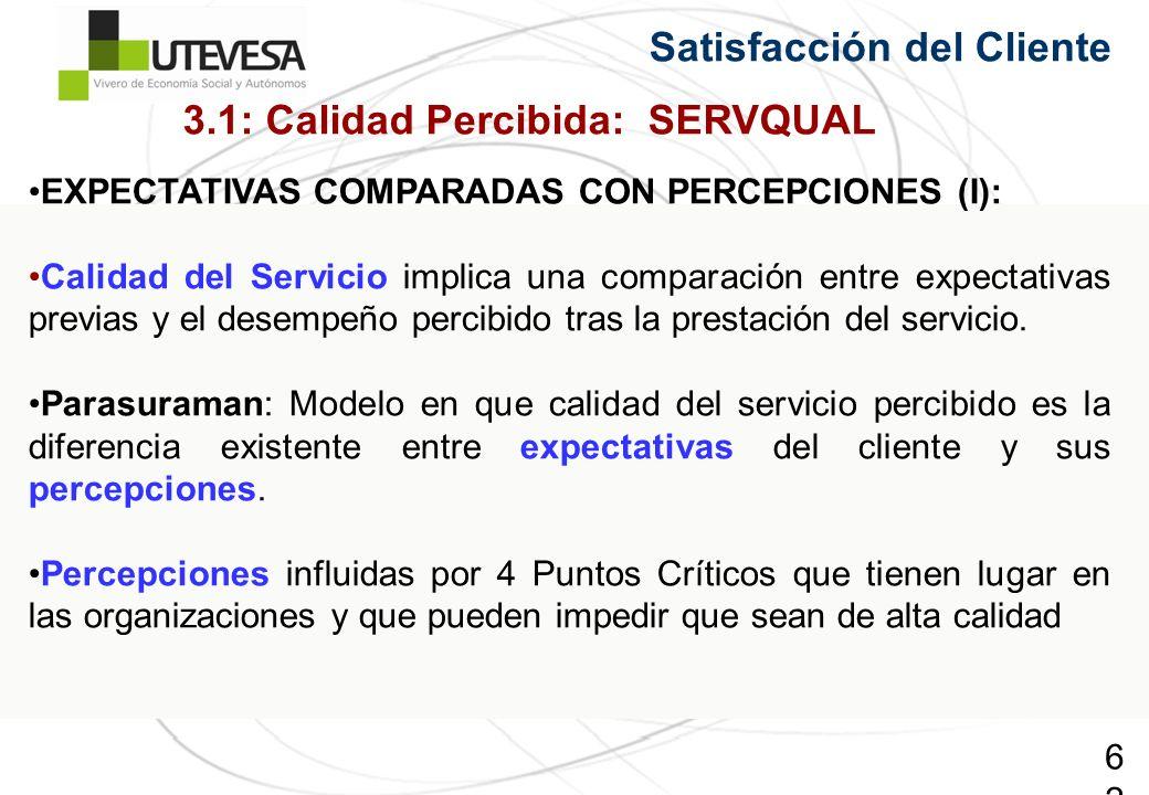 62 Satisfacción del Cliente EXPECTATIVAS COMPARADAS CON PERCEPCIONES (I): Calidad del Servicio implica una comparación entre expectativas previas y el desempeño percibido tras la prestación del servicio.