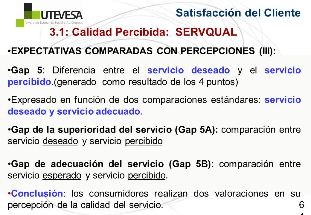 64 Satisfacción del Cliente EXPECTATIVAS COMPARADAS CON PERCEPCIONES (III): Gap 5: Diferencia entre el servicio deseado y el servicio percibido.(generado como resultado de los 4 puntos) Expresado en función de dos comparaciones estándares: servicio deseado y servicio adecuado.