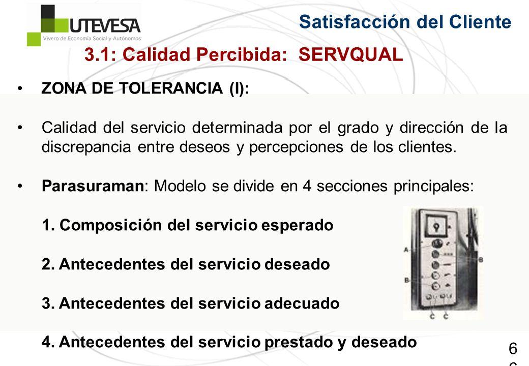 66 Satisfacción del Cliente ZONA DE TOLERANCIA (I): Calidad del servicio determinada por el grado y dirección de la discrepancia entre deseos y percep
