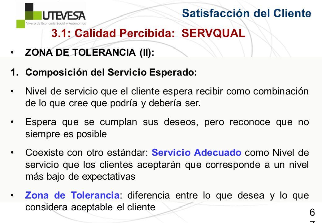 67 Satisfacción del Cliente ZONA DE TOLERANCIA (II): 1.Composición del Servicio Esperado: Nivel de servicio que el cliente espera recibir como combinación de lo que cree que podría y debería ser.