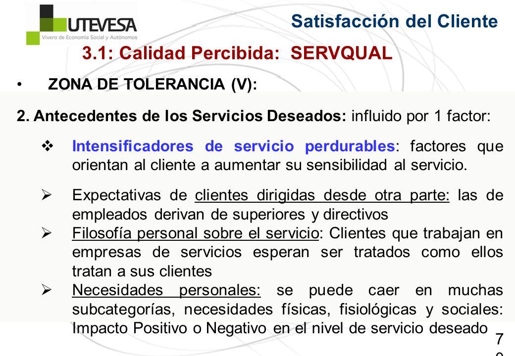 70 Satisfacción del Cliente ZONA DE TOLERANCIA (V): 2. Antecedentes de los Servicios Deseados: influido por 1 factor: Intensificadores de servicio per