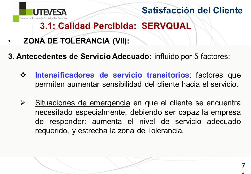 71 Satisfacción del Cliente ZONA DE TOLERANCIA (VII): 3. Antecedentes de Servicio Adecuado: influido por 5 factores: Intensificadores de servicio tran
