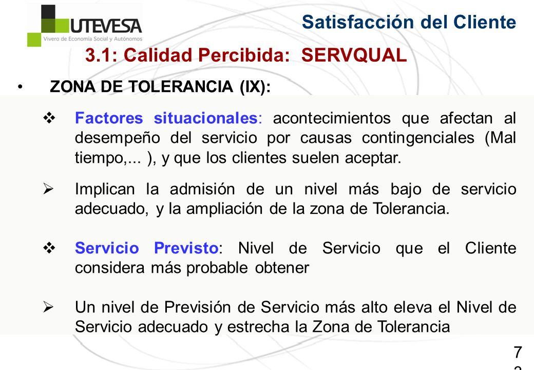 73 Satisfacción del Cliente ZONA DE TOLERANCIA (IX): Factores situacionales: acontecimientos que afectan al desempeño del servicio por causas contingenciales (Mal tiempo,...