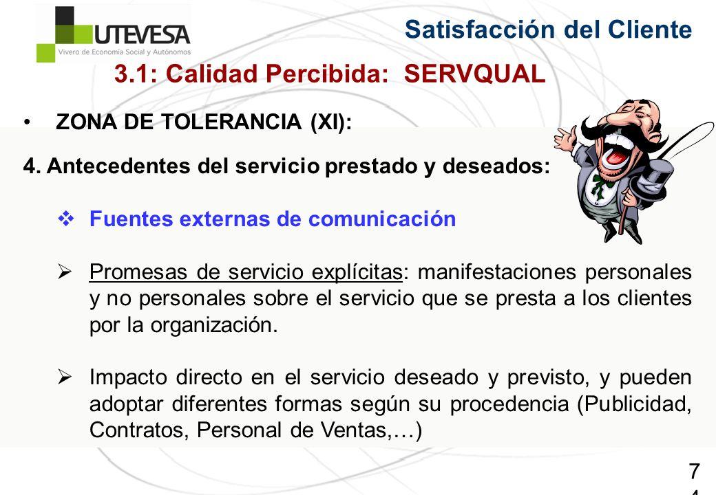 74 ZONA DE TOLERANCIA (XI): 4. Antecedentes del servicio prestado y deseados: Fuentes externas de comunicación Promesas de servicio explícitas: manife