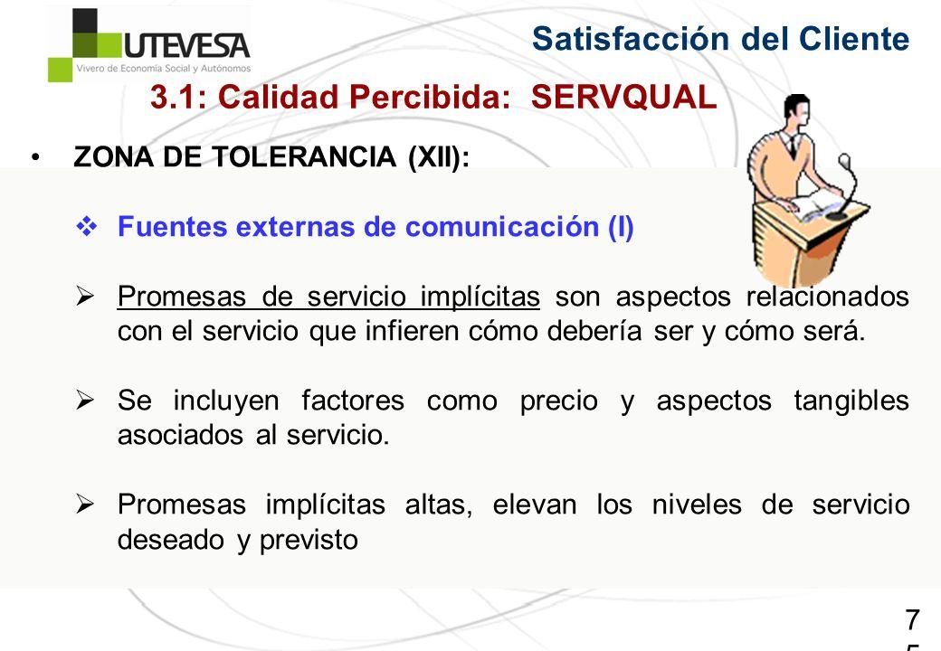 75 ZONA DE TOLERANCIA (XII): Fuentes externas de comunicación (I) Promesas de servicio implícitas son aspectos relacionados con el servicio que infieren cómo debería ser y cómo será.