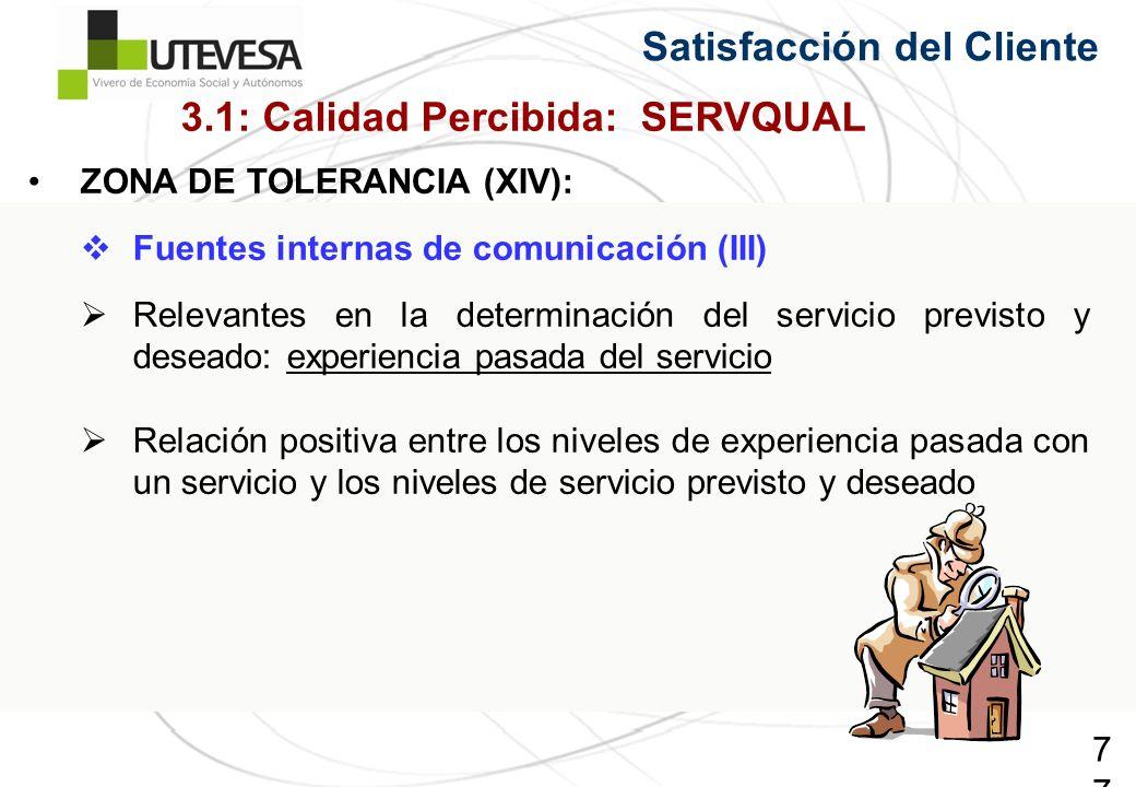 77 Satisfacción del Cliente ZONA DE TOLERANCIA (XIV): Fuentes internas de comunicación (III) Relevantes en la determinación del servicio previsto y de