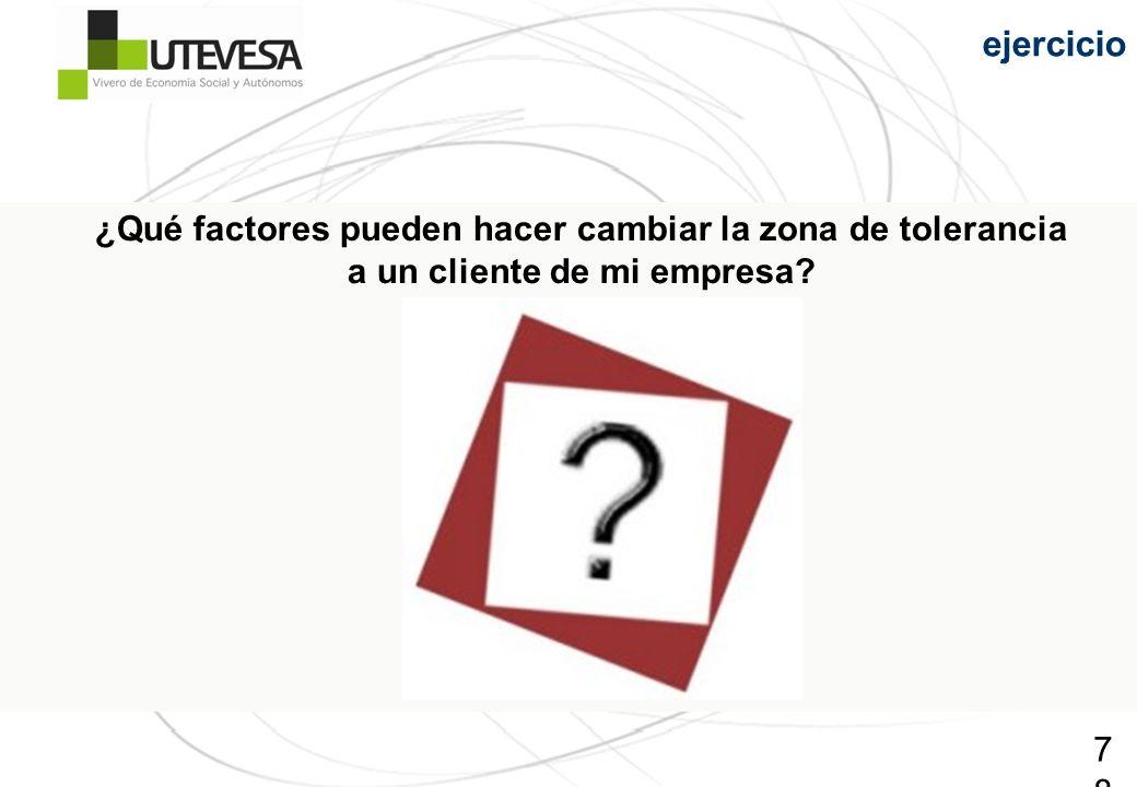 78 ¿Qué factores pueden hacer cambiar la zona de tolerancia a un cliente de mi empresa? ejercicio