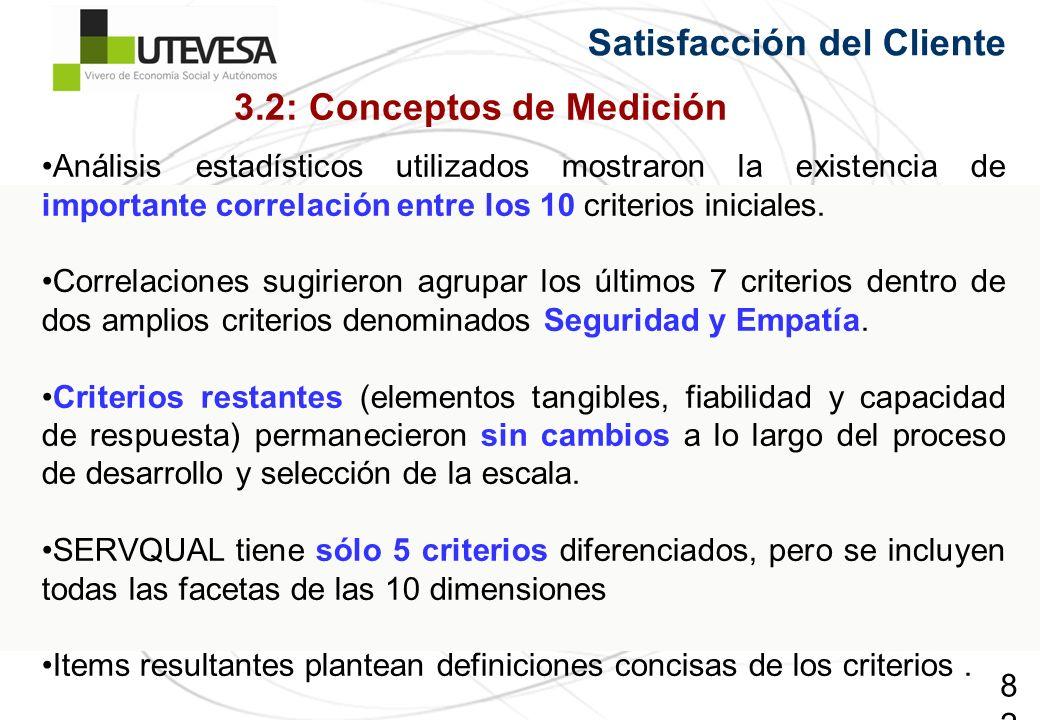 82 Satisfacción del Cliente Análisis estadísticos utilizados mostraron la existencia de importante correlación entre los 10 criterios iniciales. Corre