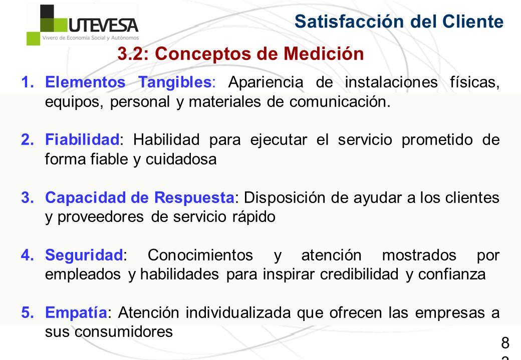 83 Satisfacción del Cliente 1.Elementos Tangibles: Apariencia de instalaciones físicas, equipos, personal y materiales de comunicación. 2.Fiabilidad: