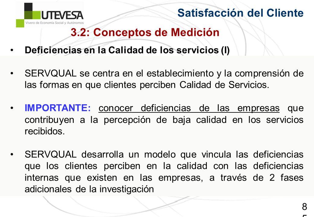 85 Satisfacción del Cliente Deficiencias en la Calidad de los servicios (I) SERVQUAL se centra en el establecimiento y la comprensión de las formas en que clientes perciben Calidad de Servicios.