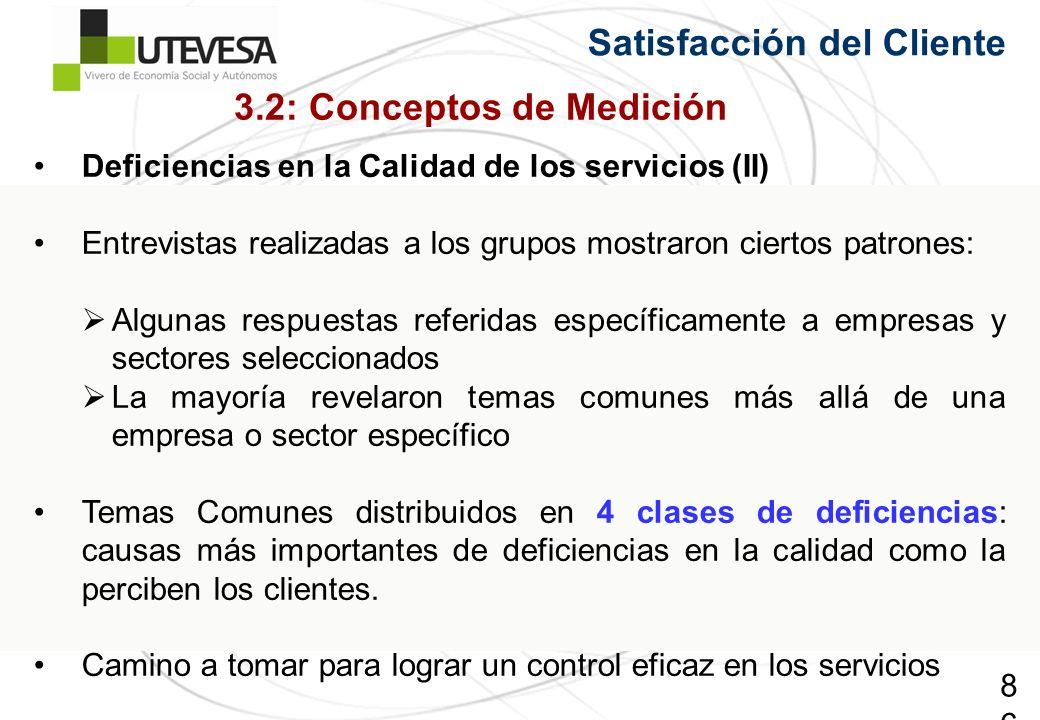 86 Satisfacción del Cliente Deficiencias en la Calidad de los servicios (II) Entrevistas realizadas a los grupos mostraron ciertos patrones: Algunas r