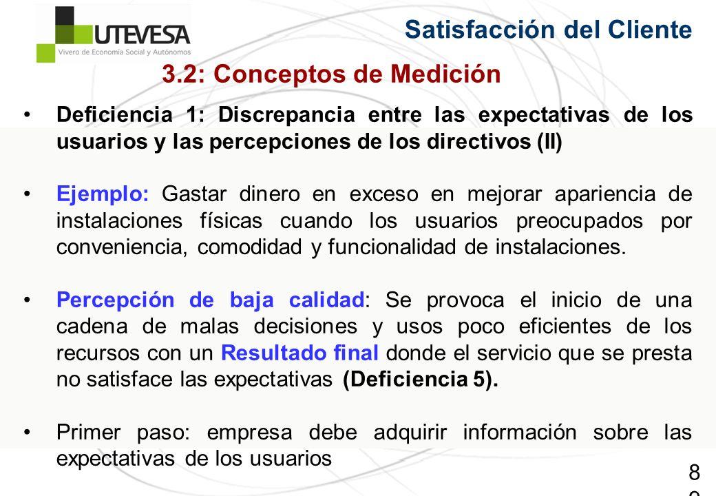 89 Deficiencia 1: Discrepancia entre las expectativas de los usuarios y las percepciones de los directivos (II) Ejemplo: Gastar dinero en exceso en me