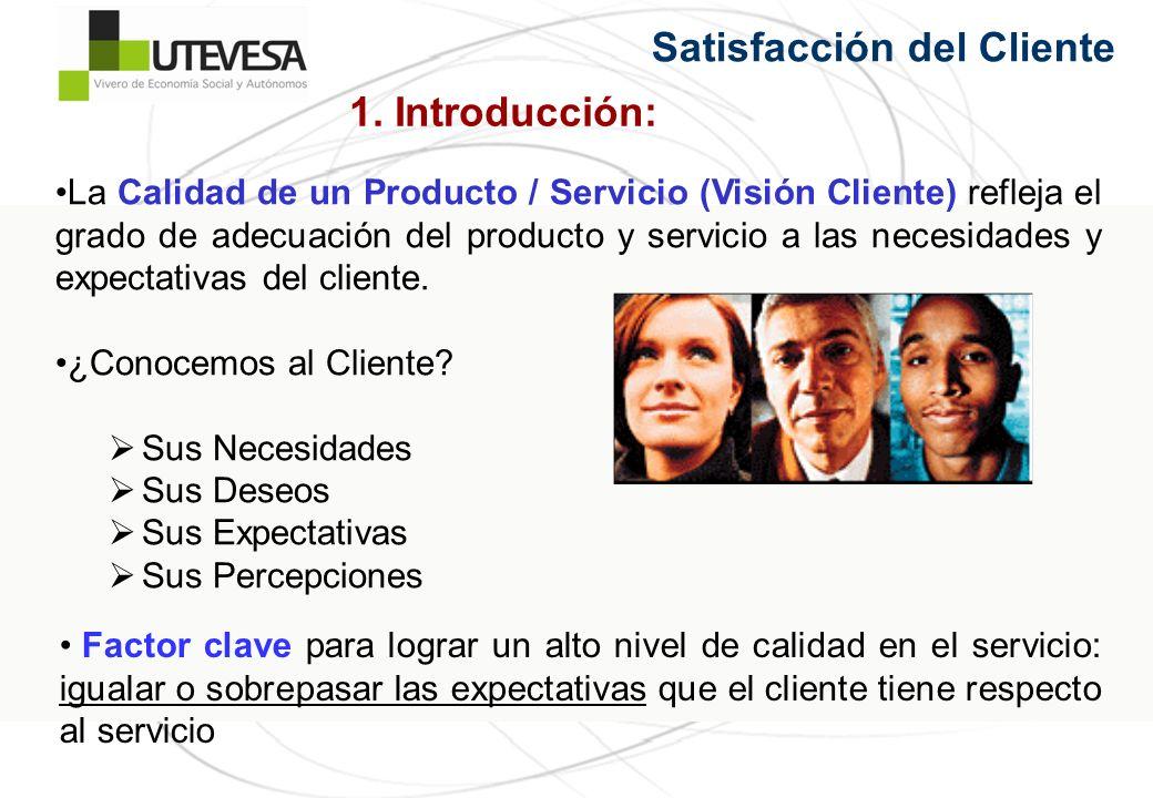 La Calidad de un Producto / Servicio (Visión Cliente) refleja el grado de adecuación del producto y servicio a las necesidades y expectativas del clie