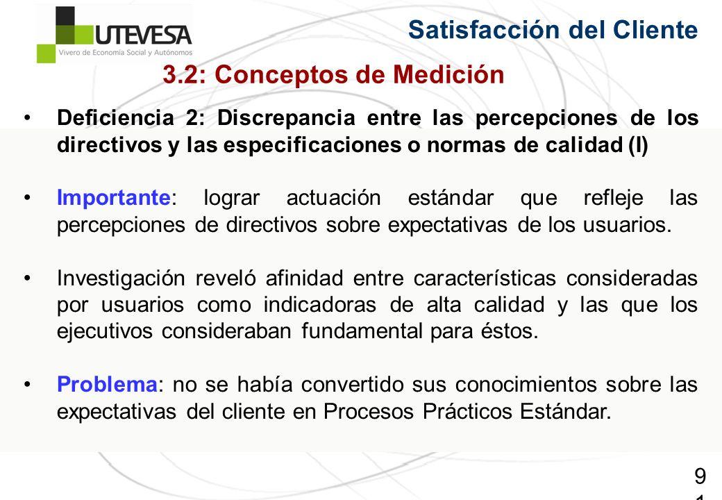 91 Satisfacción del Cliente Deficiencia 2: Discrepancia entre las percepciones de los directivos y las especificaciones o normas de calidad (I) Importante: lograr actuación estándar que refleje las percepciones de directivos sobre expectativas de los usuarios.