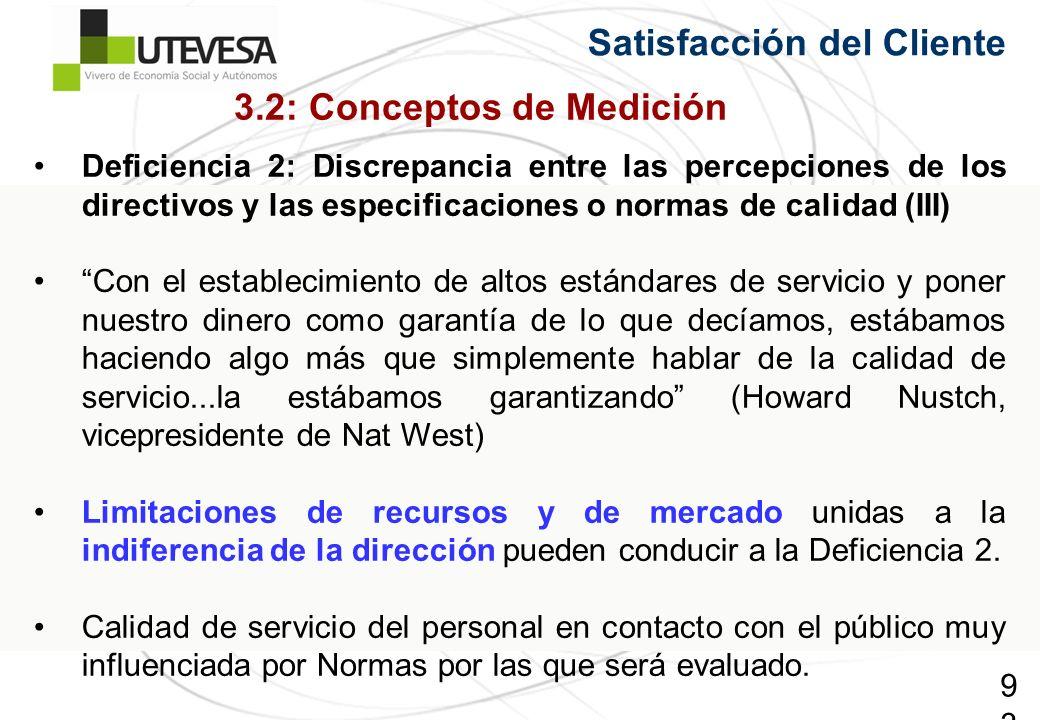 93 Satisfacción del Cliente Deficiencia 2: Discrepancia entre las percepciones de los directivos y las especificaciones o normas de calidad (III) Con