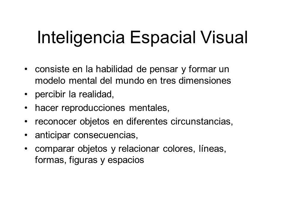 Inteligencia Espacial Visual consiste en la habilidad de pensar y formar un modelo mental del mundo en tres dimensiones percibir la realidad, hacer re