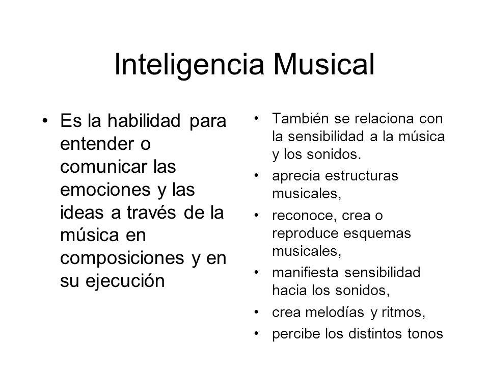 Inteligencia Musical También se relaciona con la sensibilidad a la música y los sonidos. aprecia estructuras musicales, reconoce, crea o reproduce esq