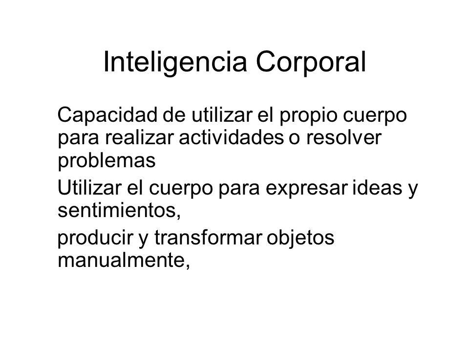 Inteligencia Corporal Capacidad de utilizar el propio cuerpo para realizar actividades o resolver problemas Utilizar el cuerpo para expresar ideas y s