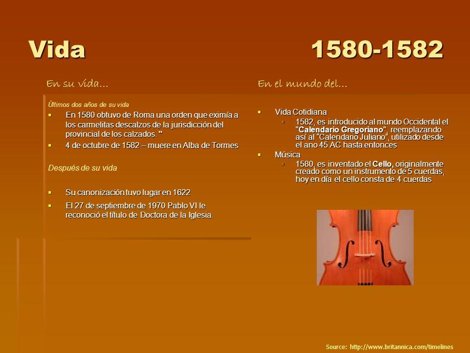 Vida1580-1582 Últimos dos años de su vida En 1580 obtuvo de Roma una orden que eximía a los carmelitas descalzos de la jurisdicción del provincial de